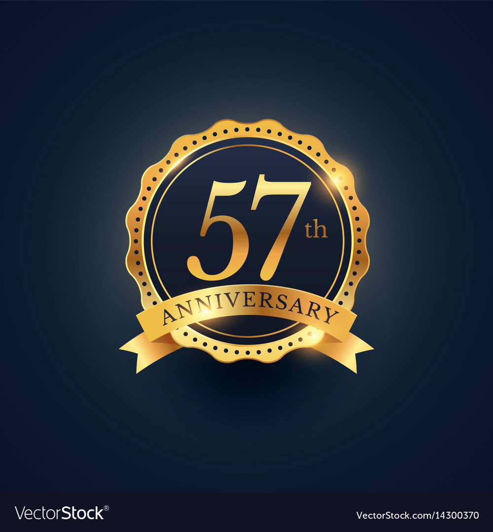 57th anniversary celebration badge label in vector image