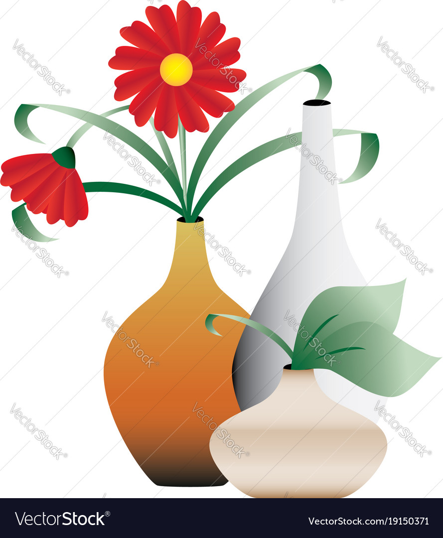 Blossoming flowers in vases royalty free vector image blossoming flowers in vases vector image reviewsmspy