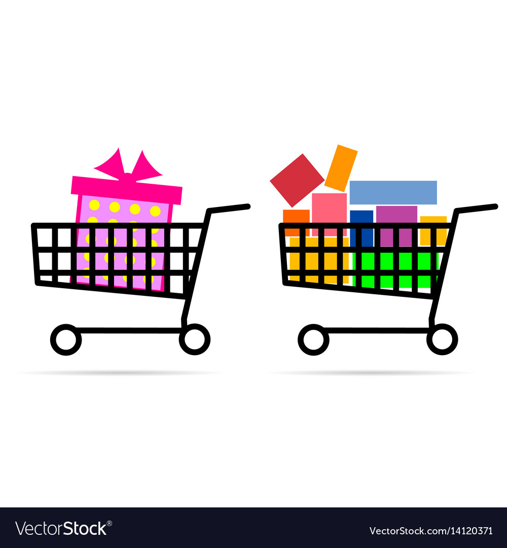 Gift box in shopping basket vector image
