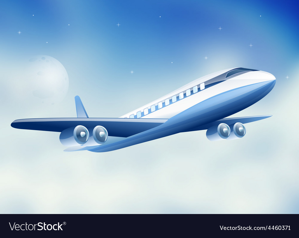Plane flying high above sky moon vector image