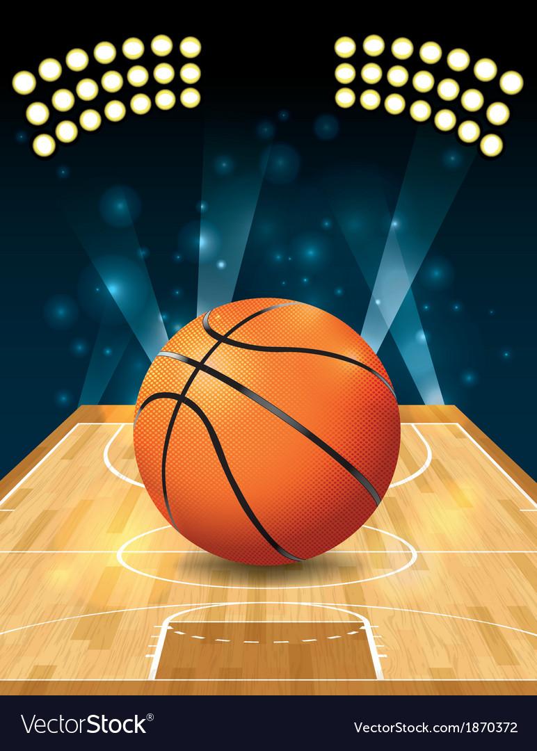 Basketball on hardwood court vector image