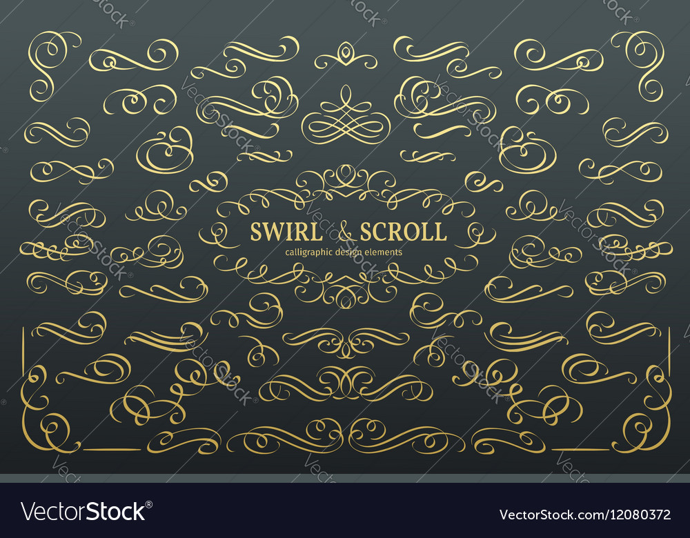 Calligraphic and page decoration design elements vector image