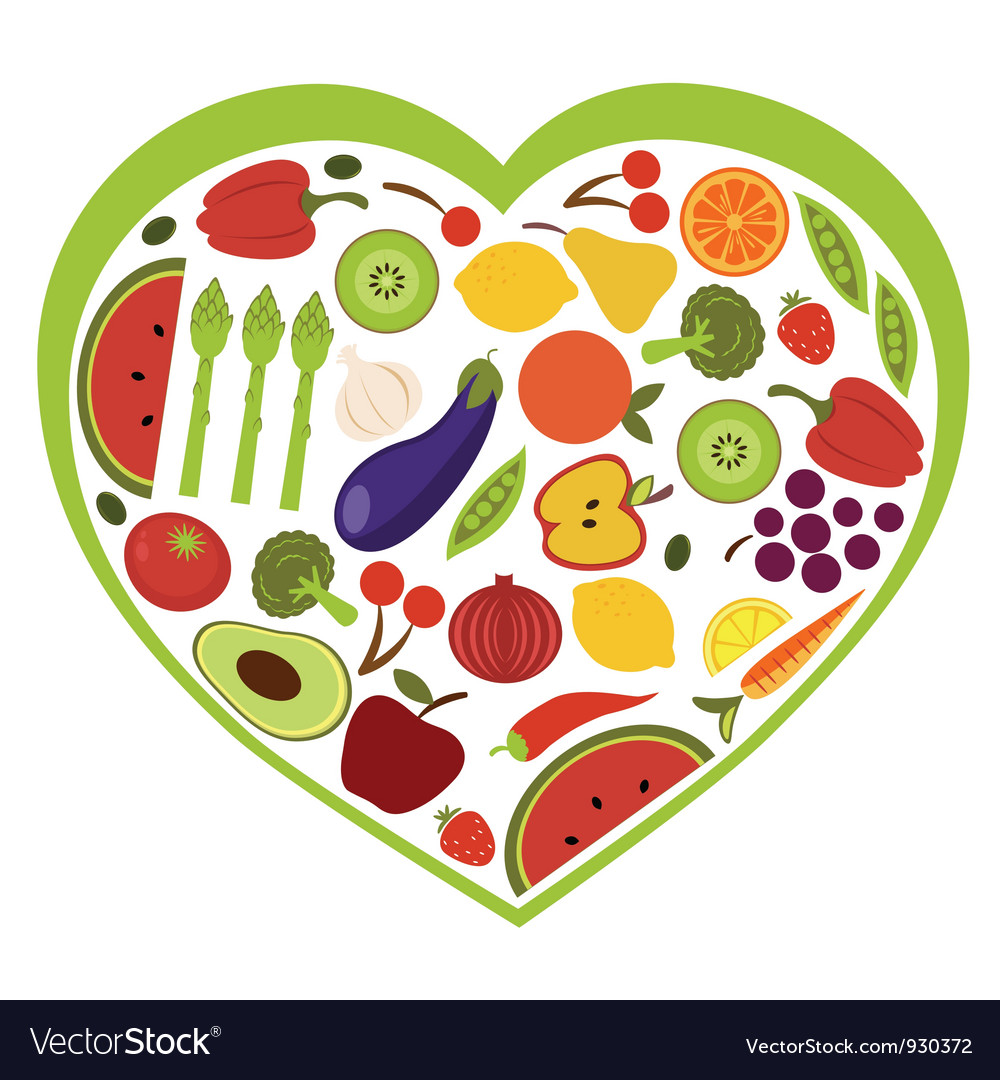 fruit and vegetables heart shape royalty free vector image
