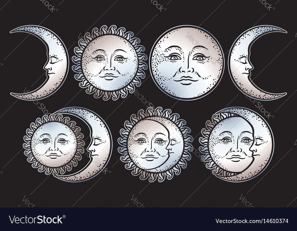 Boho chic flash tattoo design sun and moon set vector image