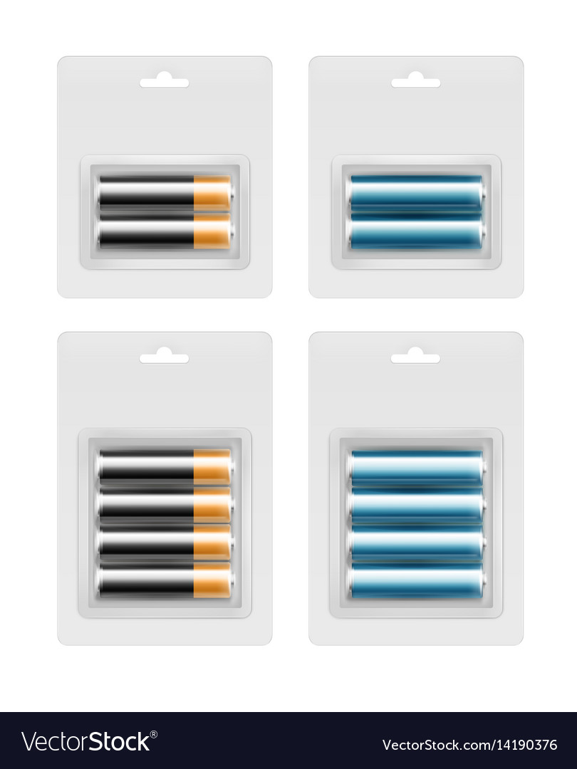 Set of batteries in transparent blister packed vector image