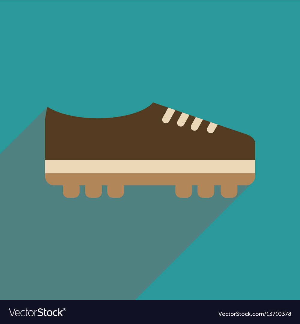 Flat web icon with long shadow soccer shoe