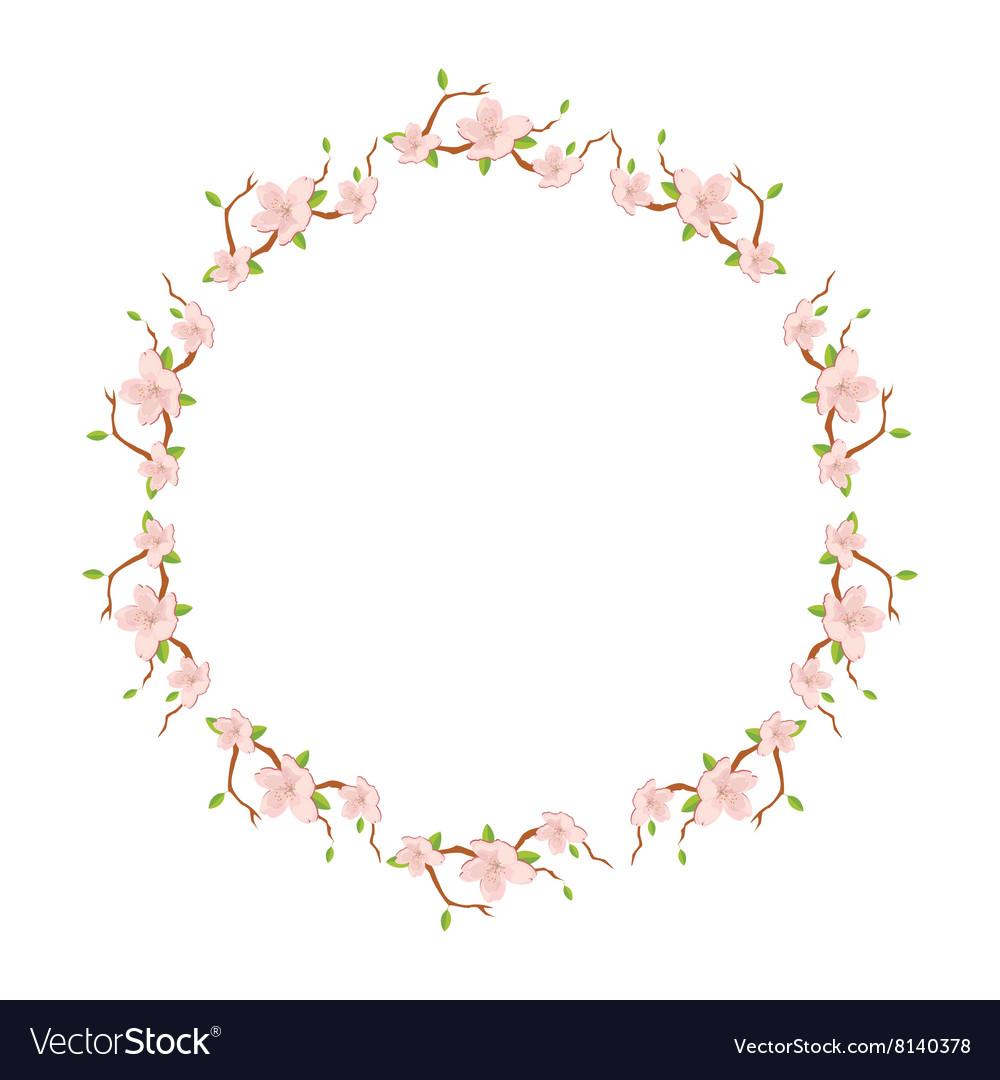 Flower round wreath vector image