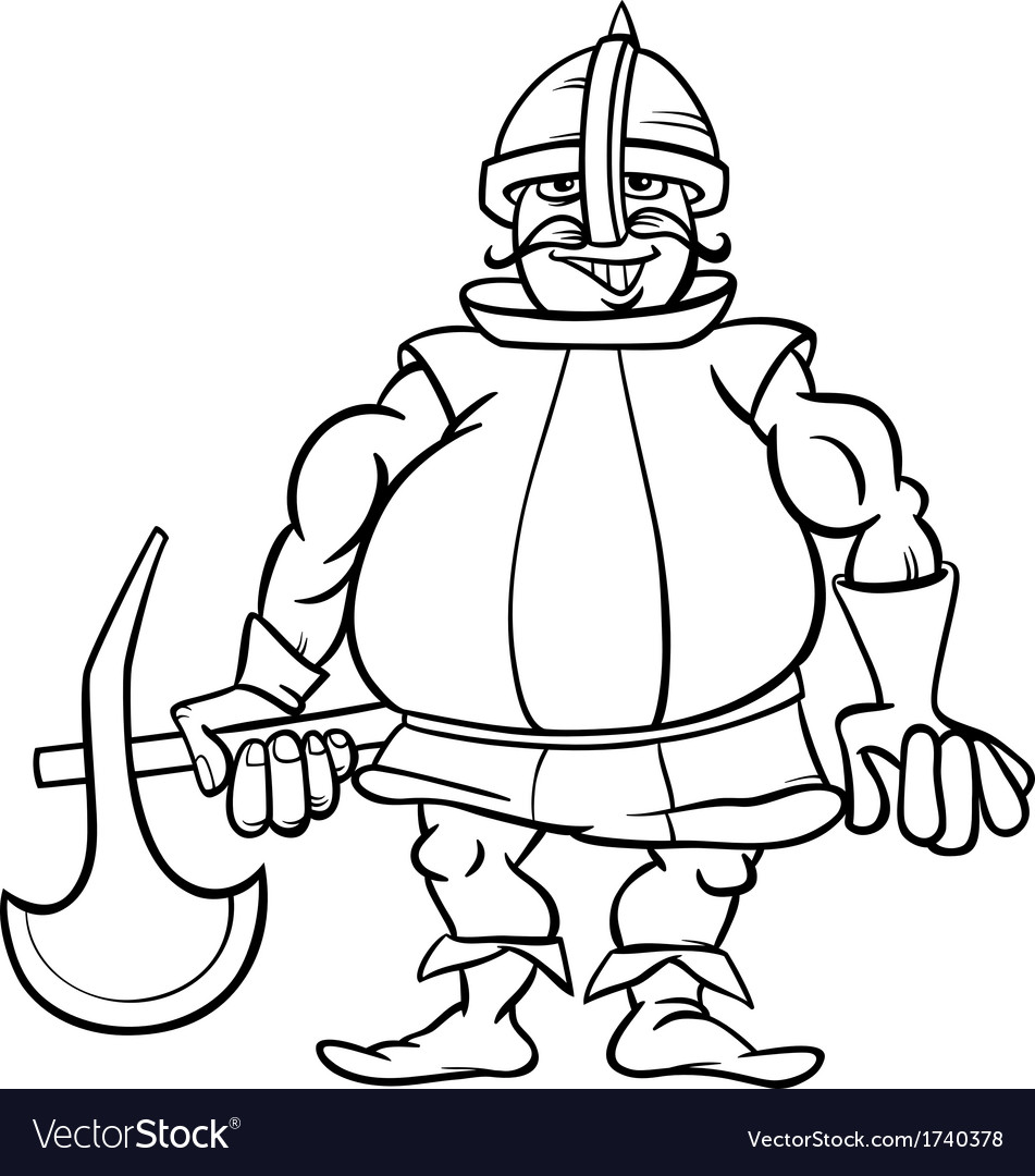 knight with axe cartoon coloring page royalty free vector