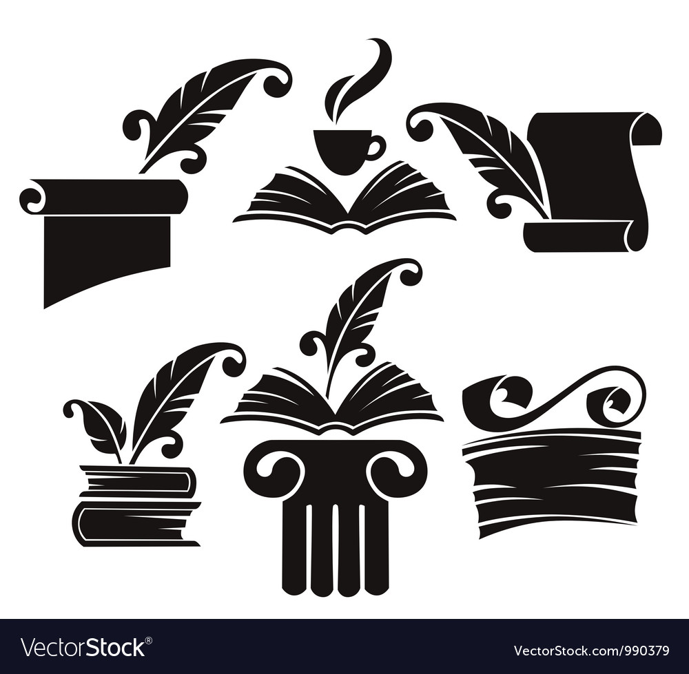 Collection of old books parchment and hist Vector Image