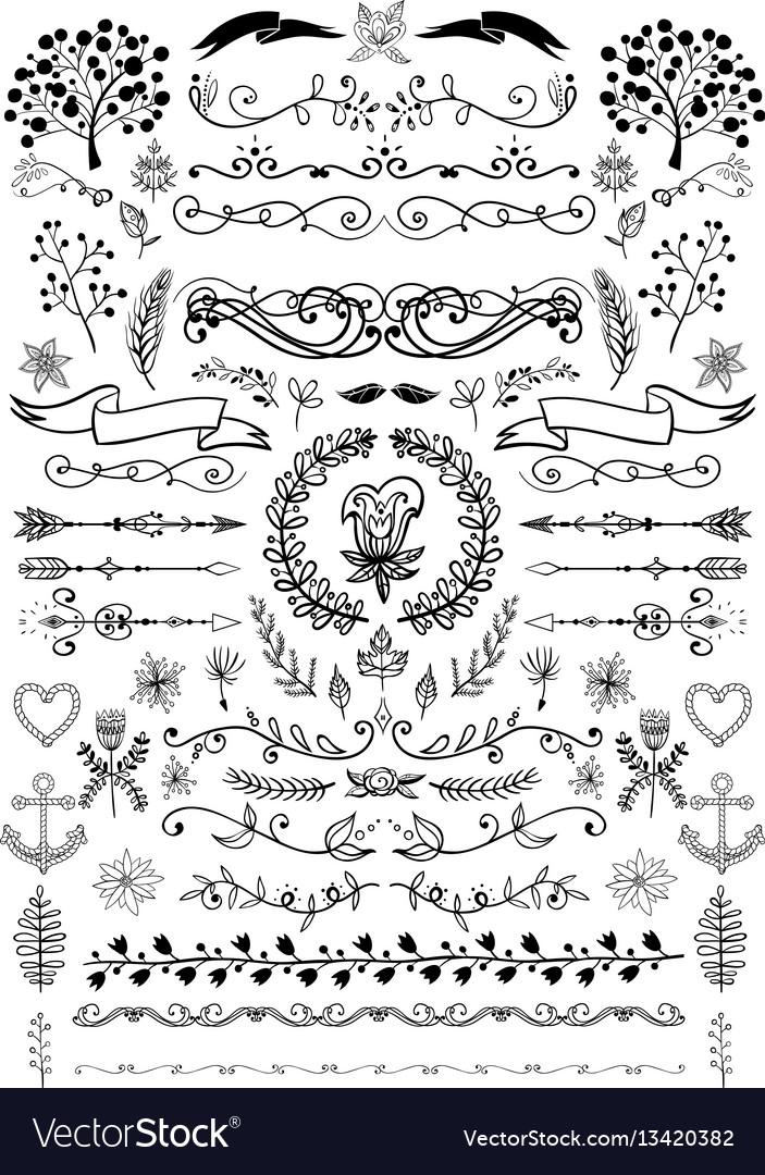 Big set of vintage elements decoration vector image