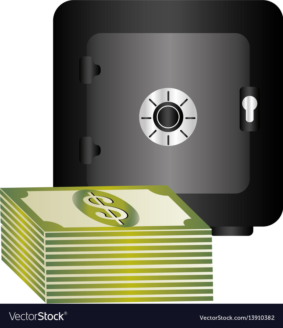 Metal strong box with stacked banknote with dollar vector image