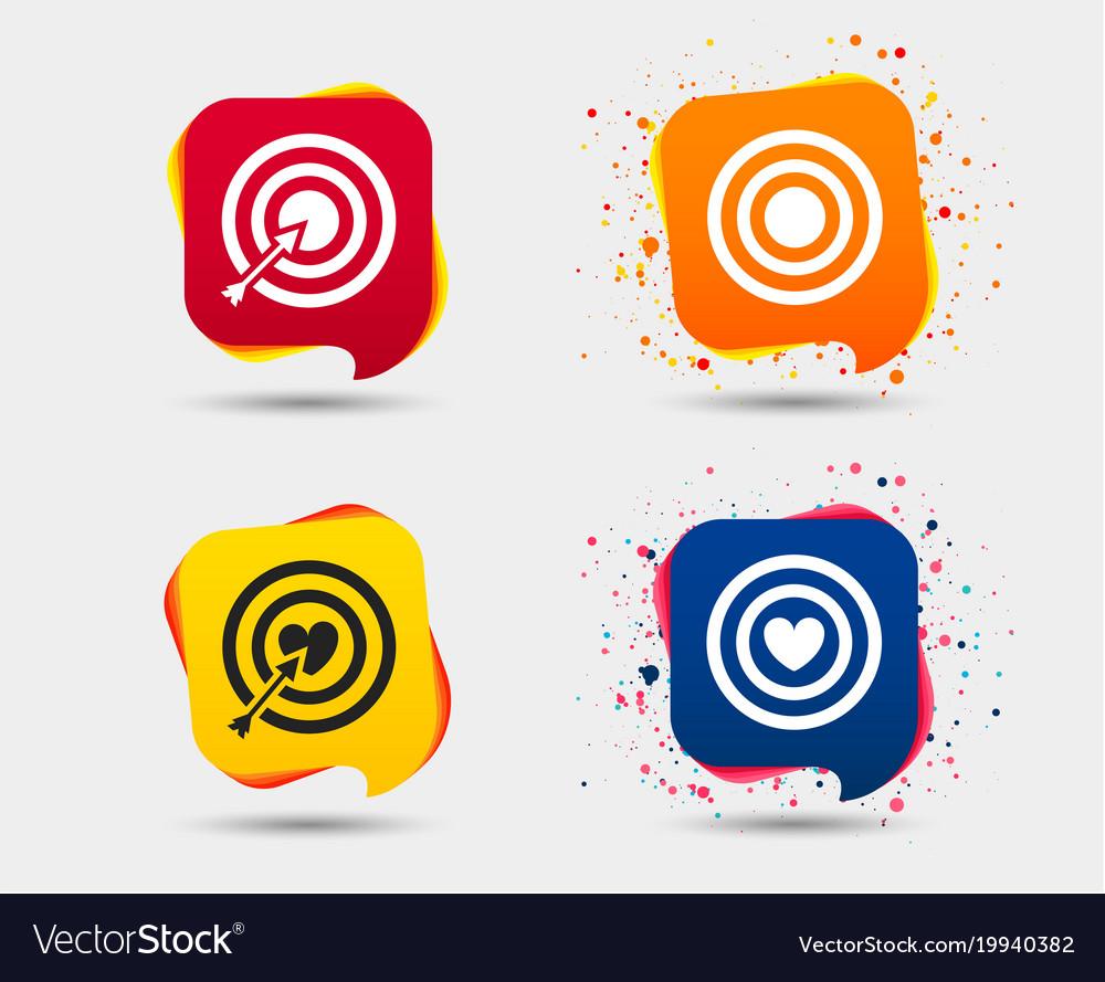 Target aim icons darts board signs symbols vector image buycottarizona Choice Image