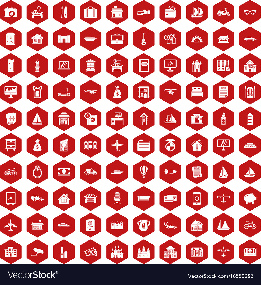 100 property icons hexagon red vector image