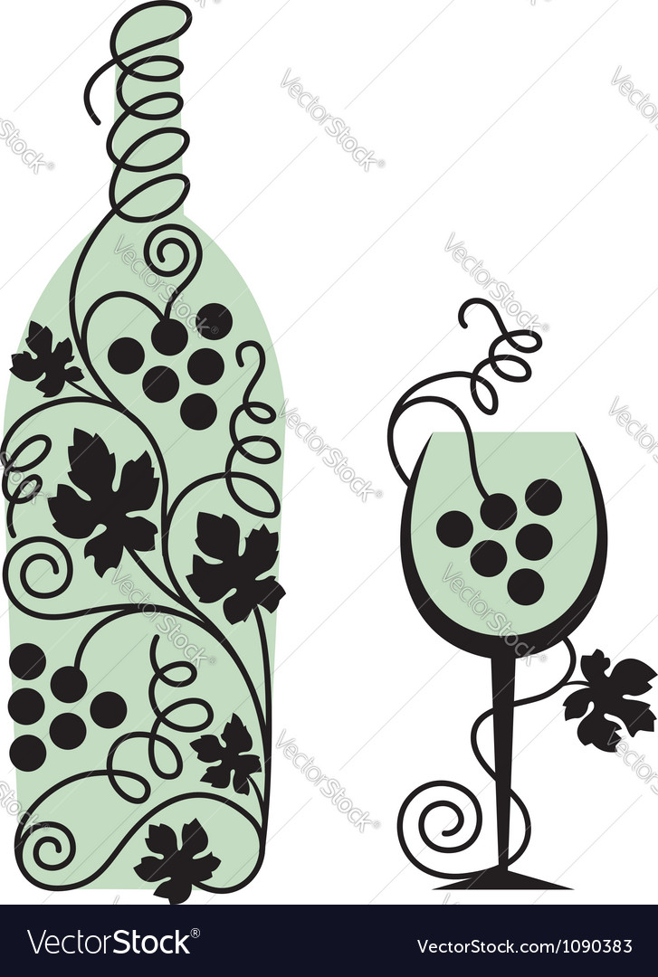 Glass and grapes vector image