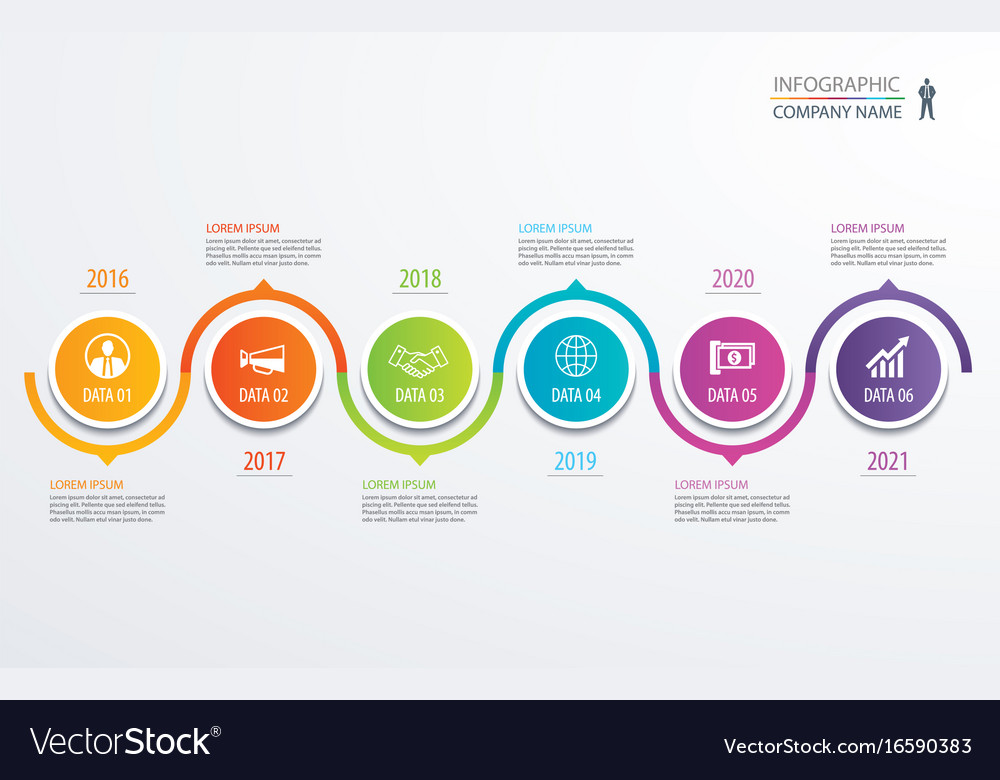 6 circle timeline infographic template business vector image