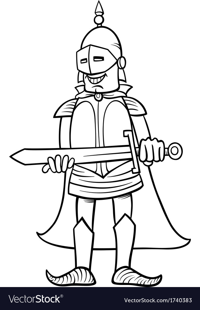 Knight With Sword Cartoon Coloring Page Vector Image