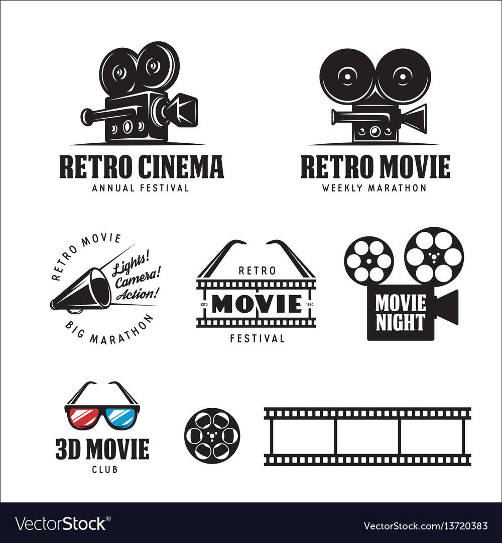 Retro cinema labels set vintage vector image