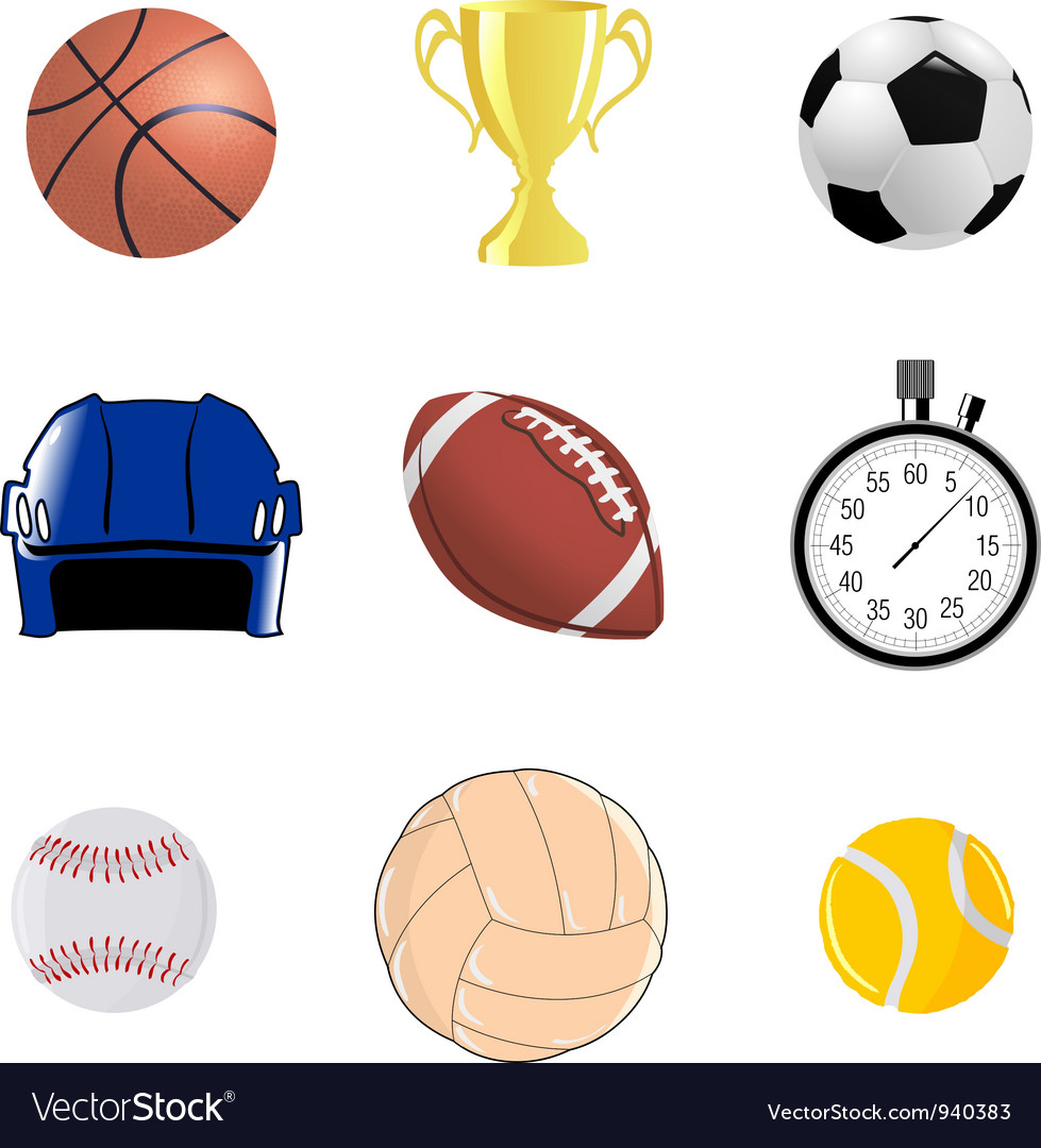 Set of sportive objects vector image