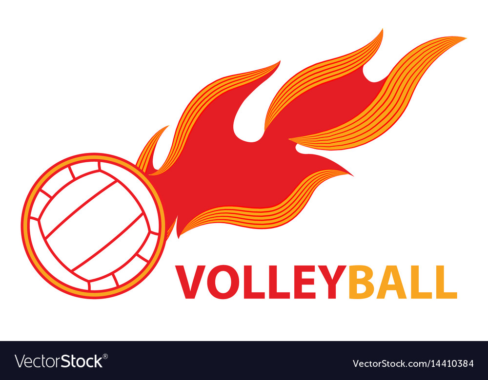Volleyball sport comet fire tail flying logo vector image