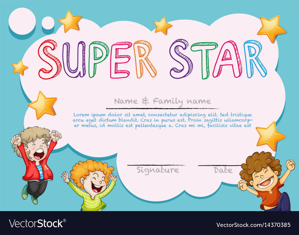 Super star award template with kids in background vector image 1betcityfo Images