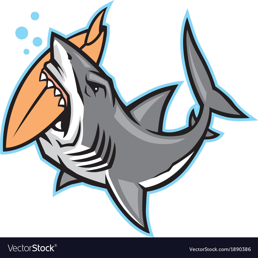 Shark bite a surfboard vector image