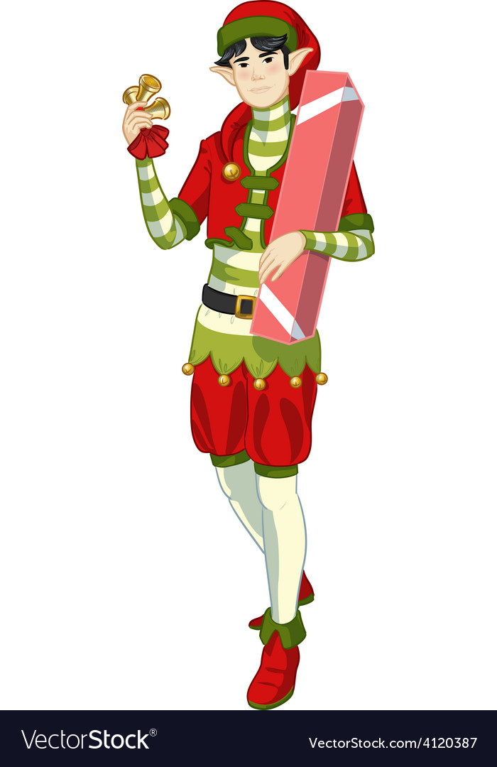Christmas elf Asian boy with gift lineart Vector Image by Zhaconda ...