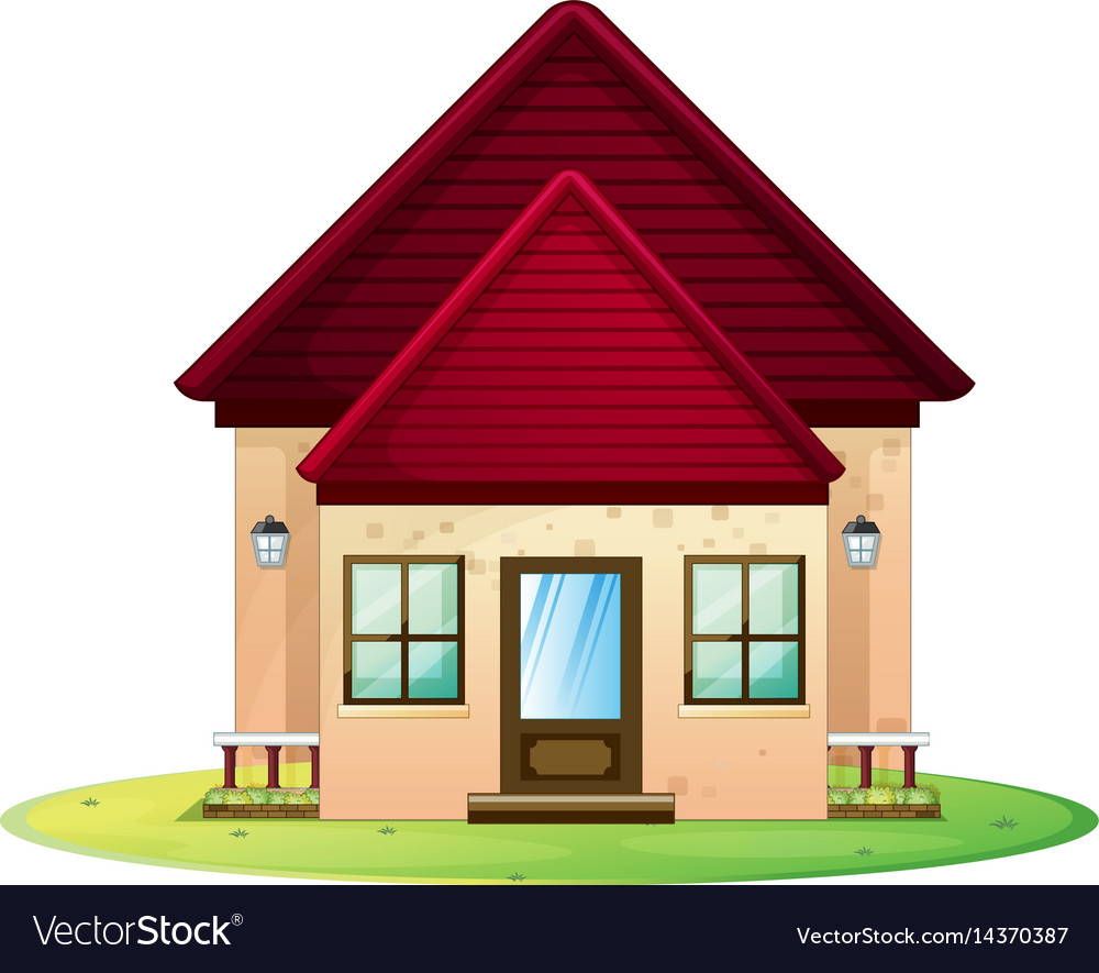 Little house with red roof vector image