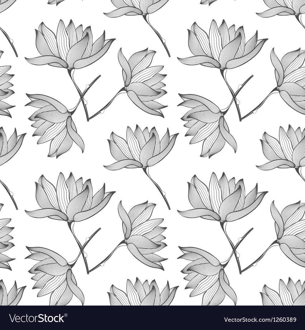 Lotus Flowers Seamless Pattern vector image