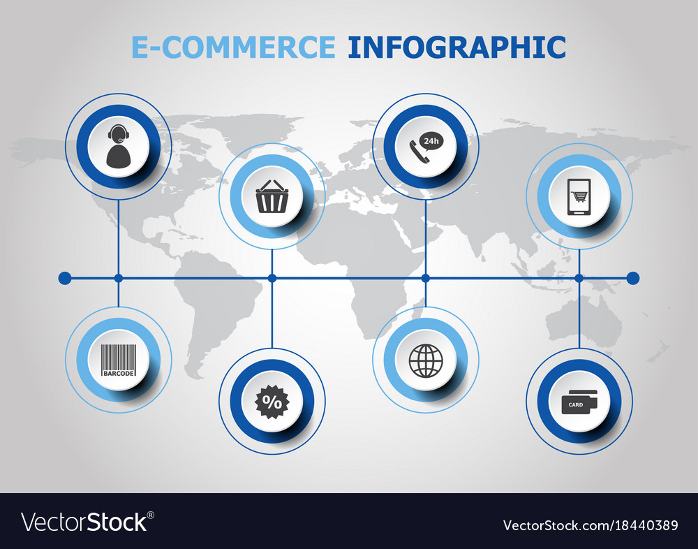 Infographic design with e-commerce icons vector image