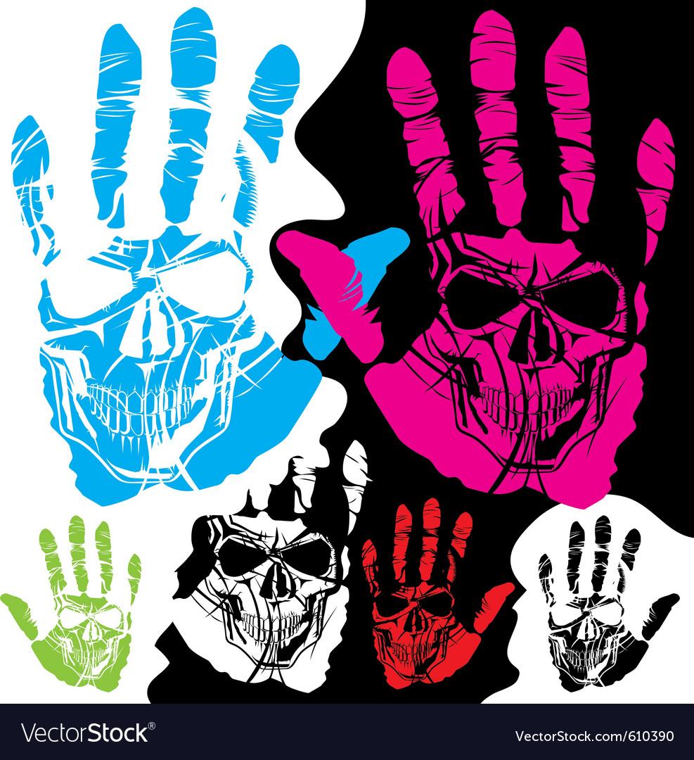 Skull hands design vector image