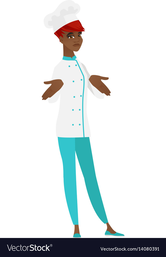 African confused chef cook shrugging shoulders vector image
