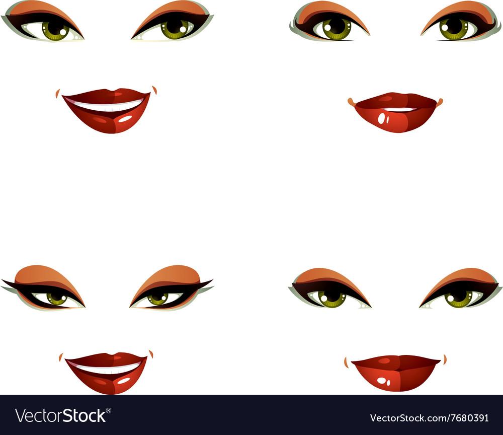 Set of beautiful female visage with stylish makeup vector image