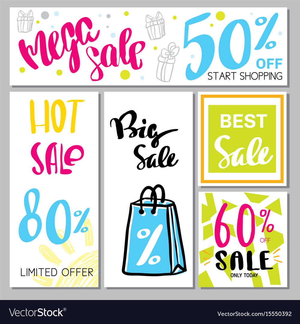 Collection of mega sale background vector image