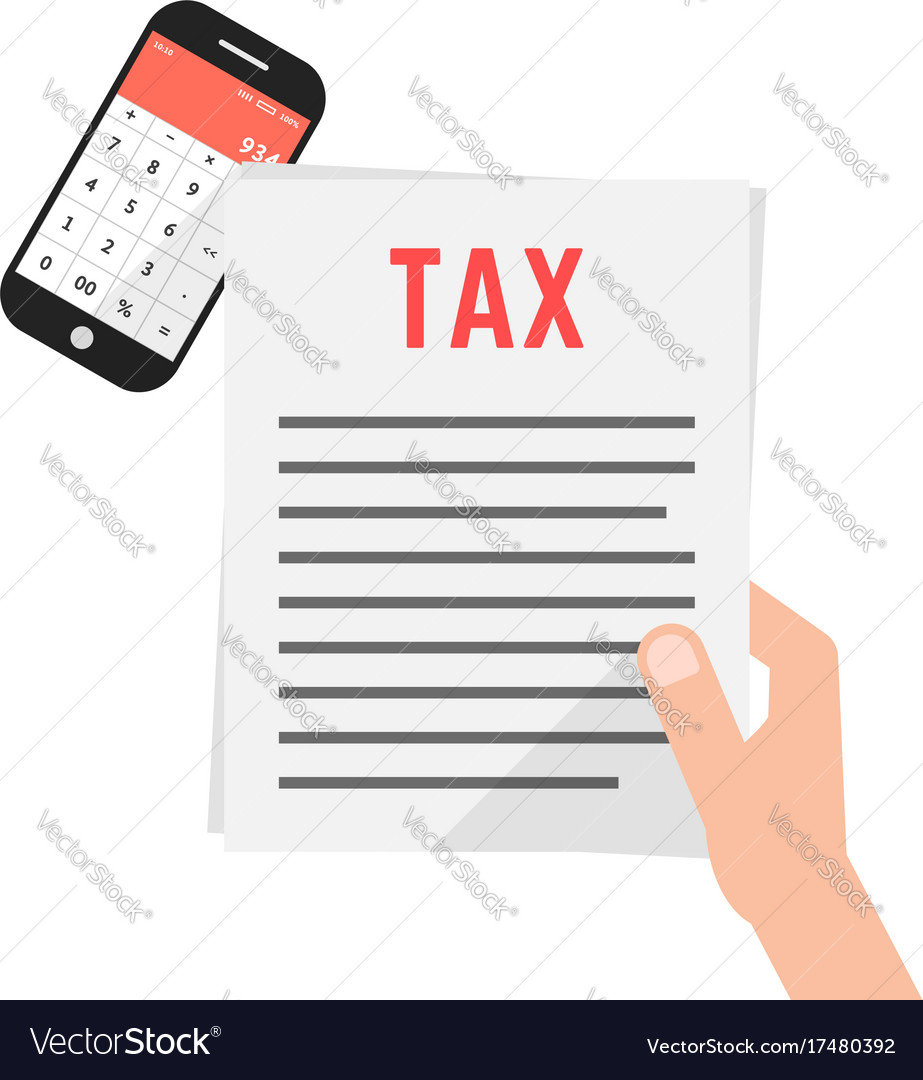 Hand holding simple tax form with phone Royalty Free Vector
