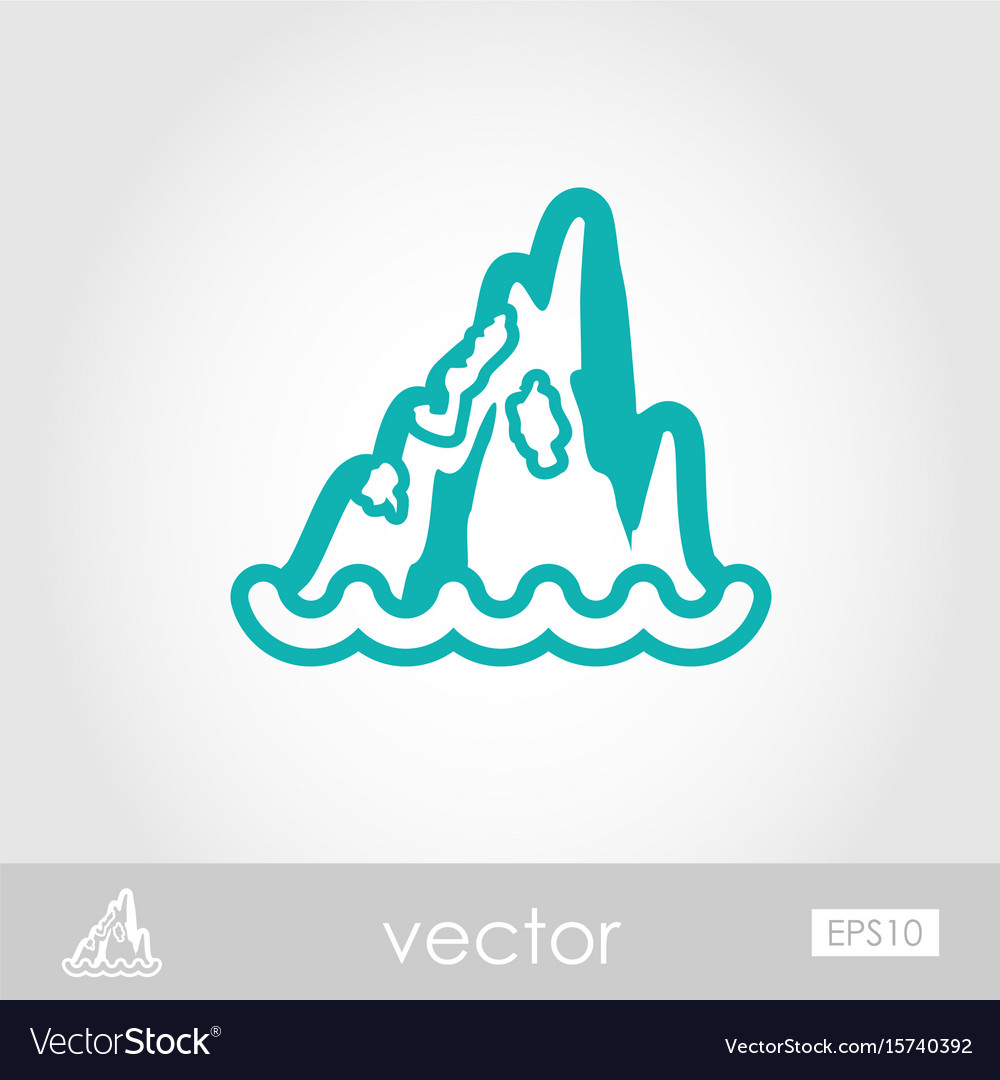 Rocks in the sea outline icon summer vacation vector image
