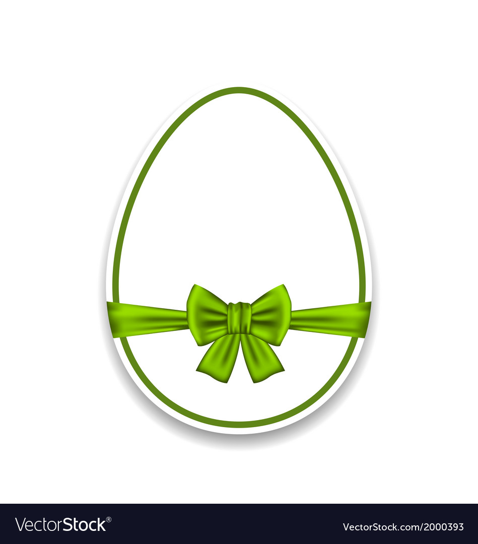 Easter egg wrapping green bow isolated on white vector image