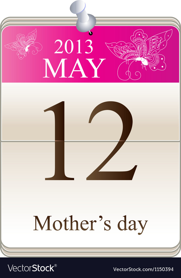 Calendar of mothers day 2013 vector image