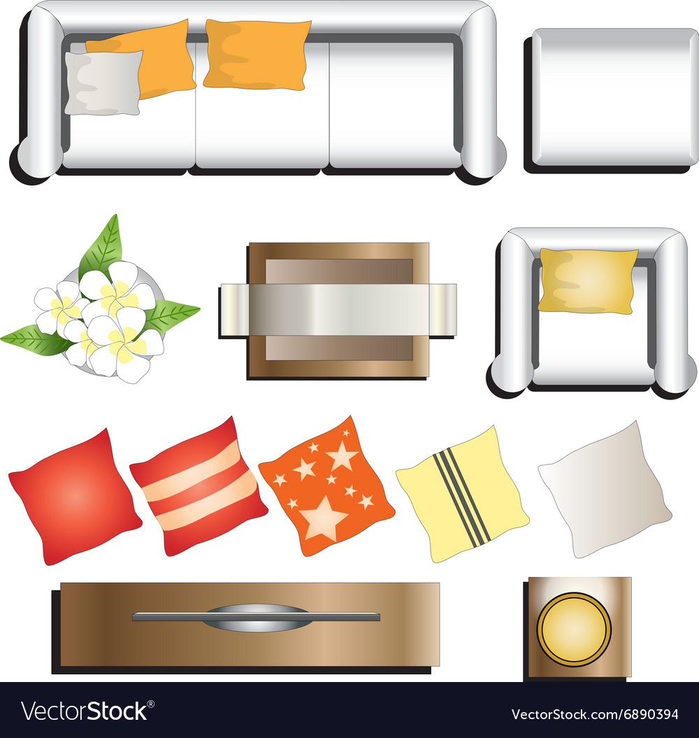 Furniture Ideas For Living Room Stock Vector: Living Room Furniture Top View Set 11 For Interior