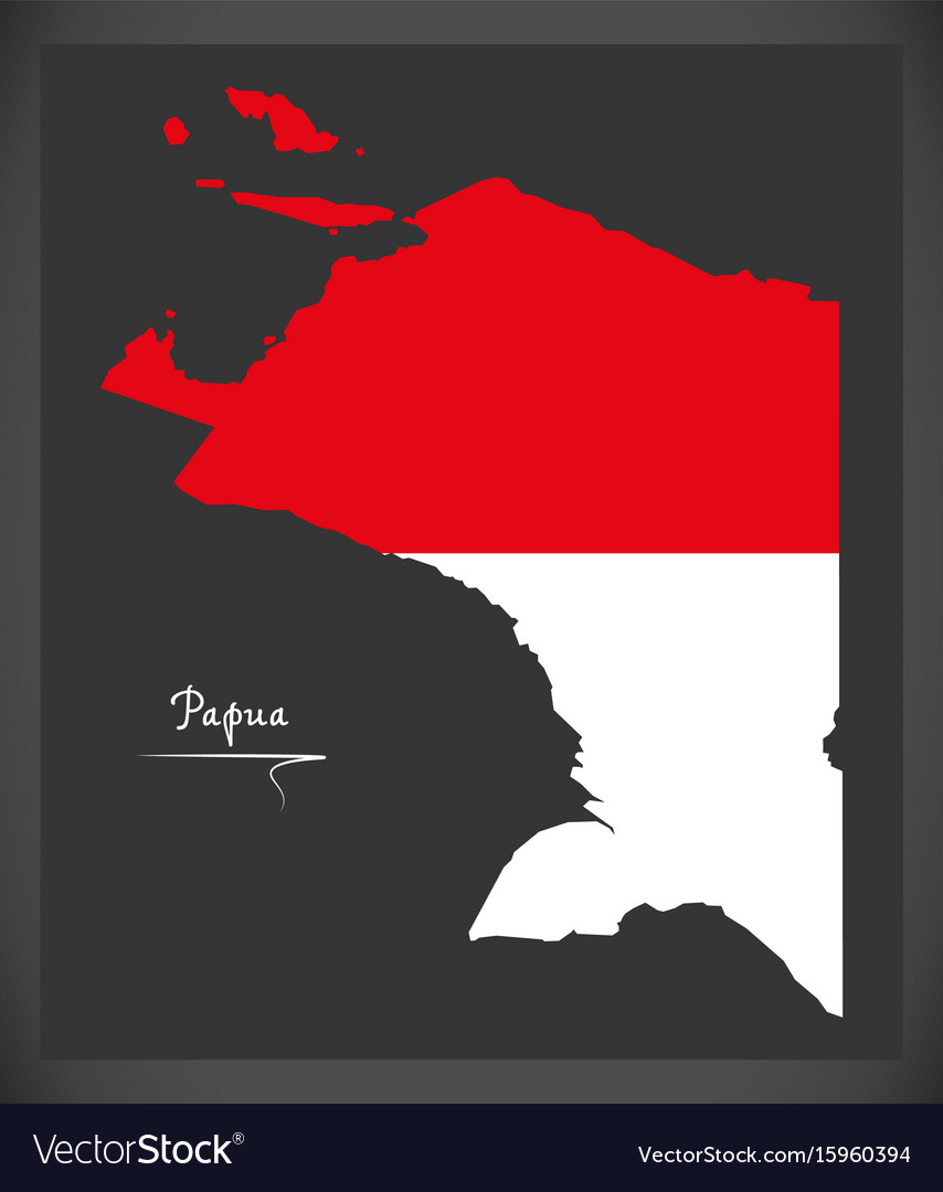 Papua indonesia map with indonesian national flag vector image