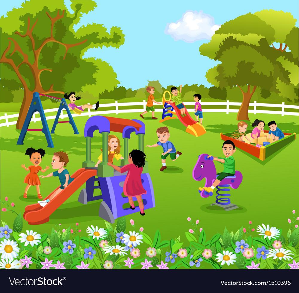 children garden. children playing in the garden vector image