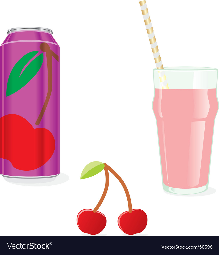 Juice cans and glass vector image