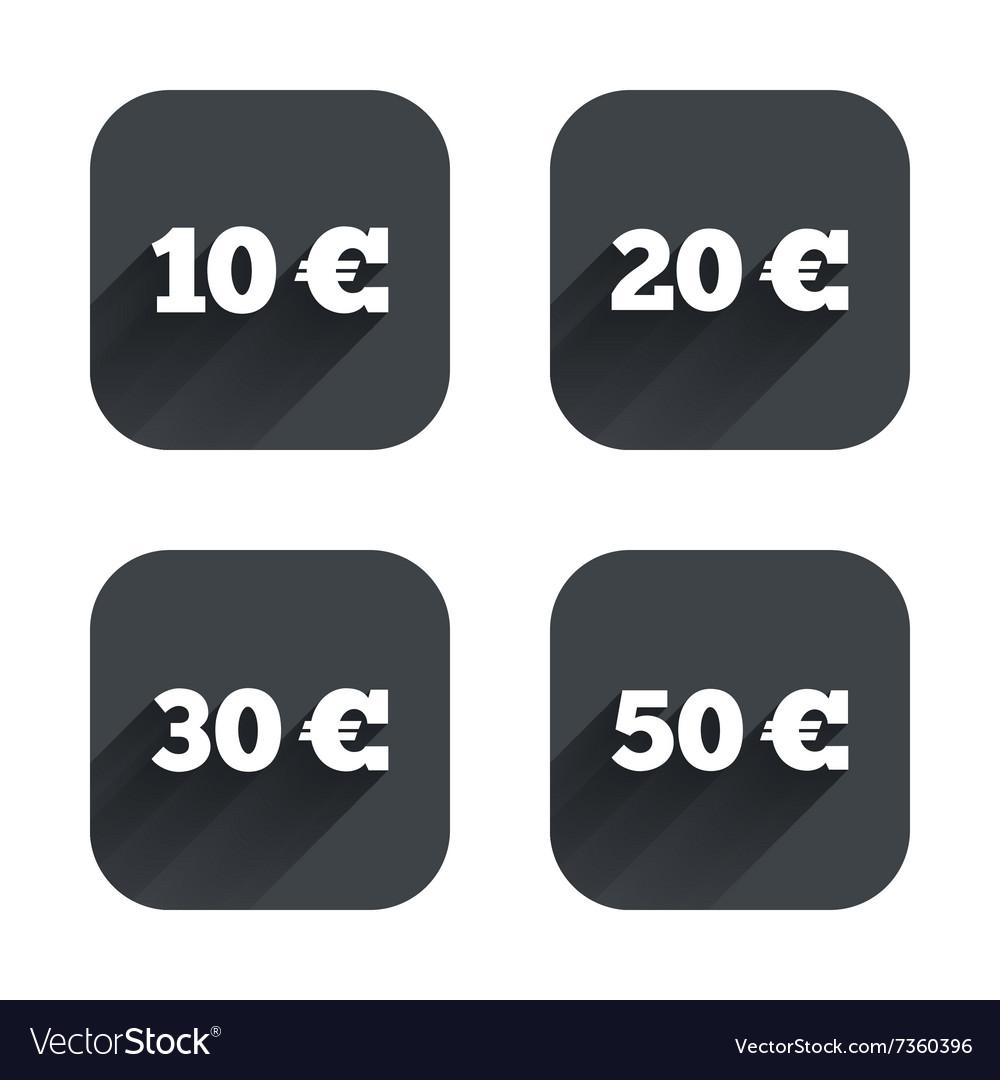 Money in Euro icons Ten twenty fifty EUR vector image