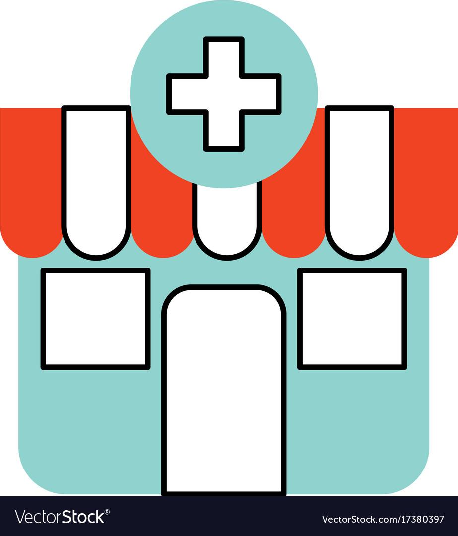 building exterior pharmacy cross medical vector image rh vectorstock com
