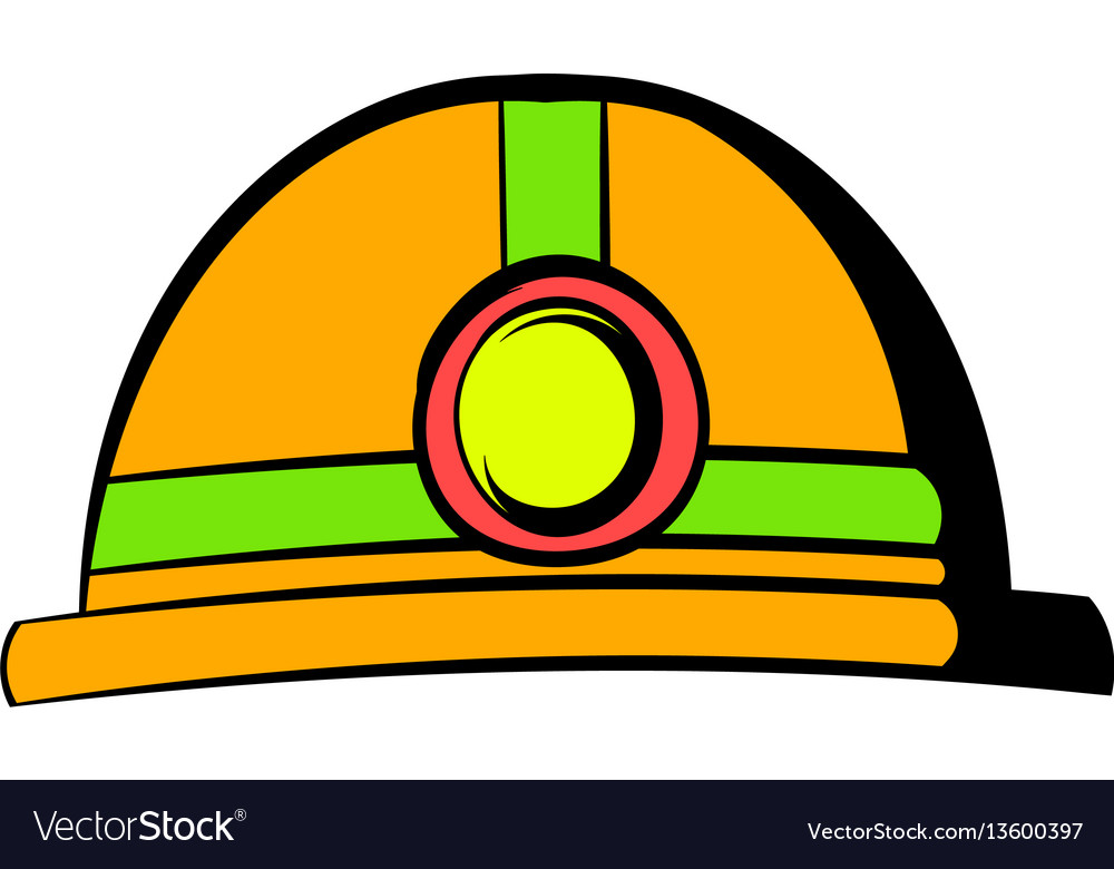Helmet with flashlight icon icon cartoon vector image