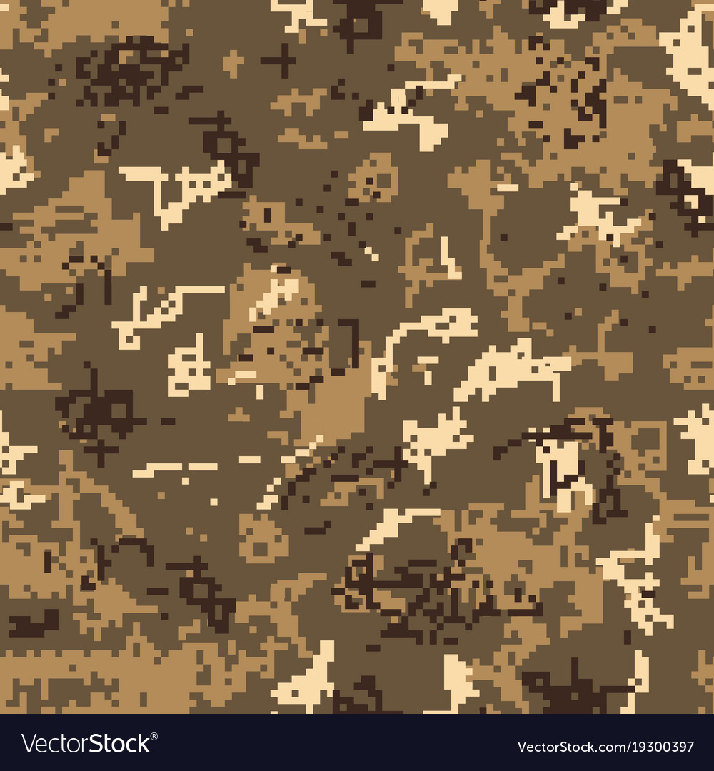 Seamless desert camouflage of pixel pattern vector image