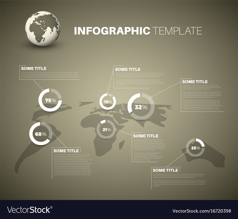 Blue world map infographic template with pie vector image