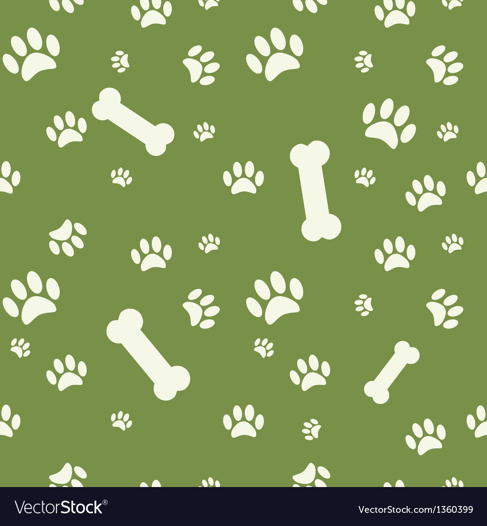 Background with dog paw print and bone on green vector image