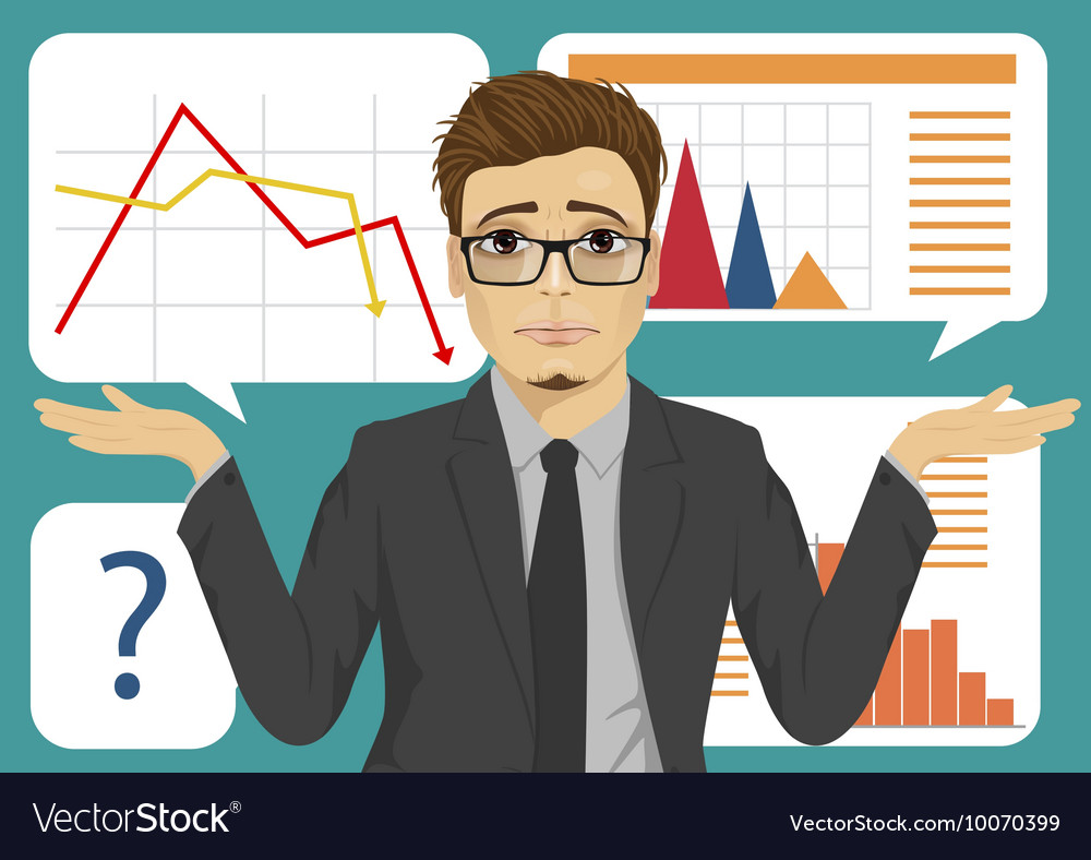 Sad businessman throws up his hands vector image