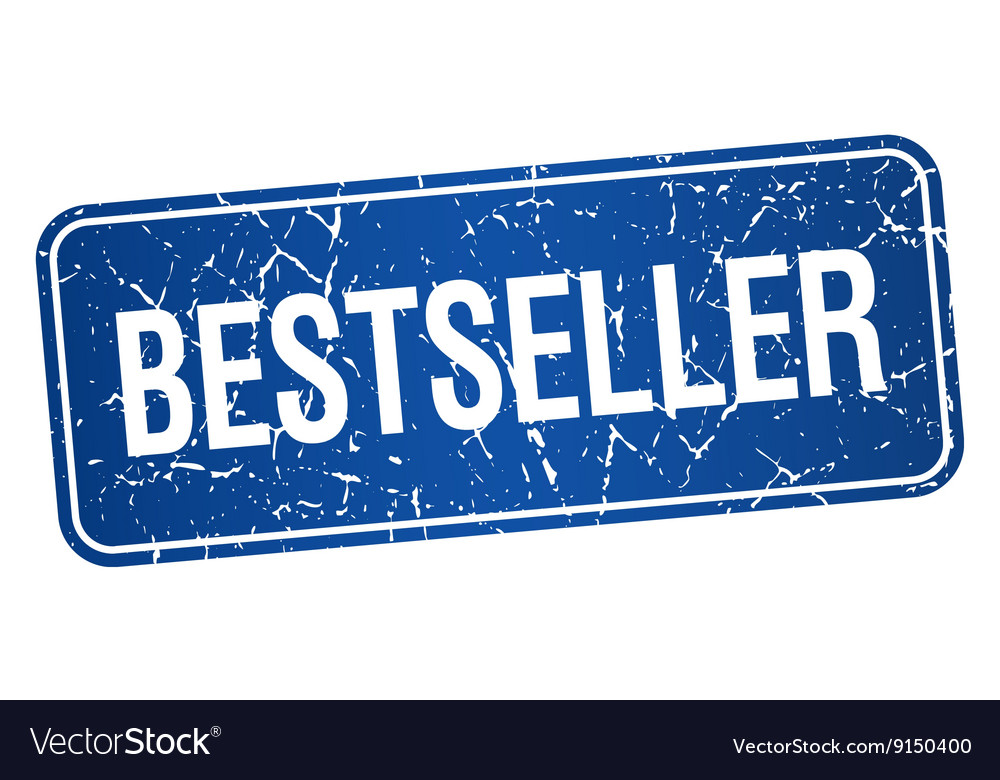 Bestseller blue square grunge textured isolated vector image