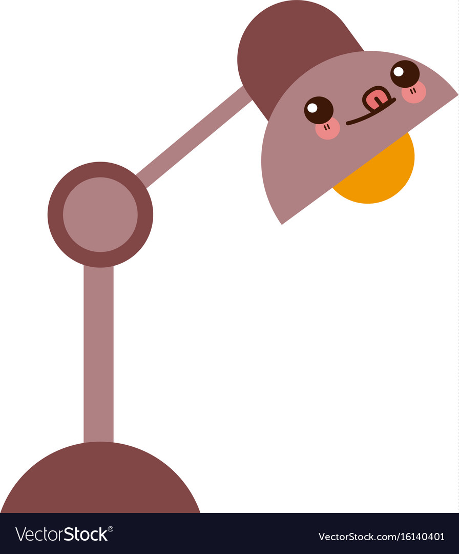 Kawaii desk lamp electric bulb light element vector image